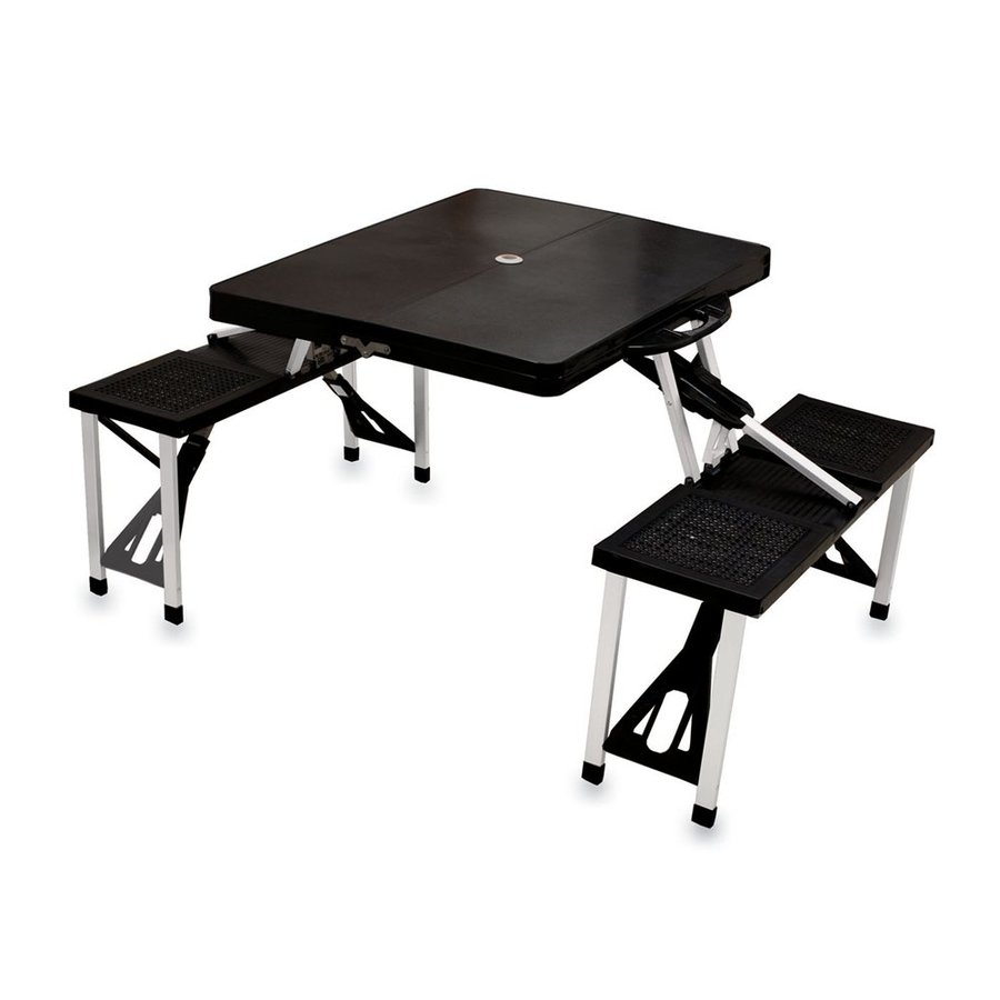 Picnic Time 2-ft 1-4/5-in Black Plastic Square Folding Picnic Table