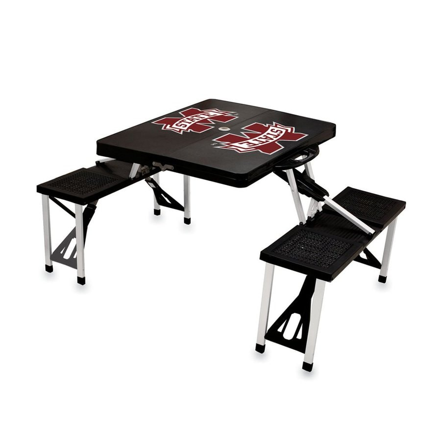 Picnic Time 2-ft 1-4/5-in Black Mississippi State Bulldogs Plastic Square Folding Picnic Table