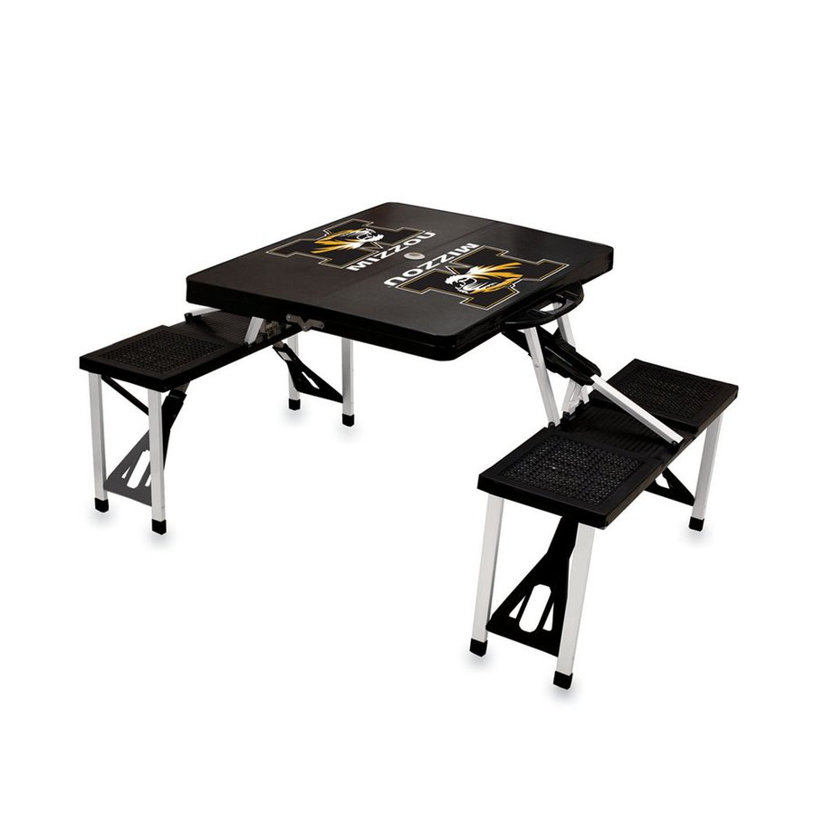 Picnic Time 2-ft 1-4/5-in Black University Of Missouri Tigers Plastic Square Folding Picnic Table