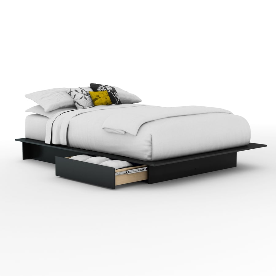 South Shore Furniture Step One Pure Black Platform Bed with Storage