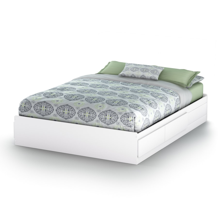 South Shore Furniture Vito Pure White Platform Bed With Storage