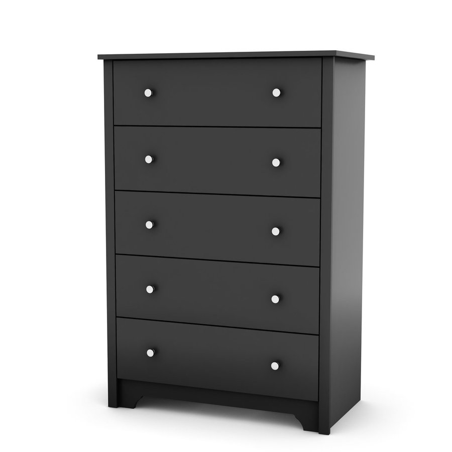South Shore Furniture Vito Pure Black 5-Drawer Standard Chest