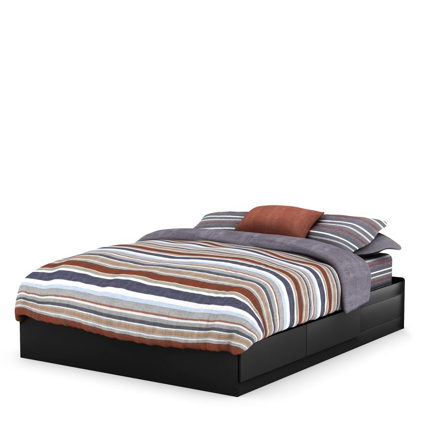South Shore Furniture Vito Pure Black Queen Platform Bed with Storage