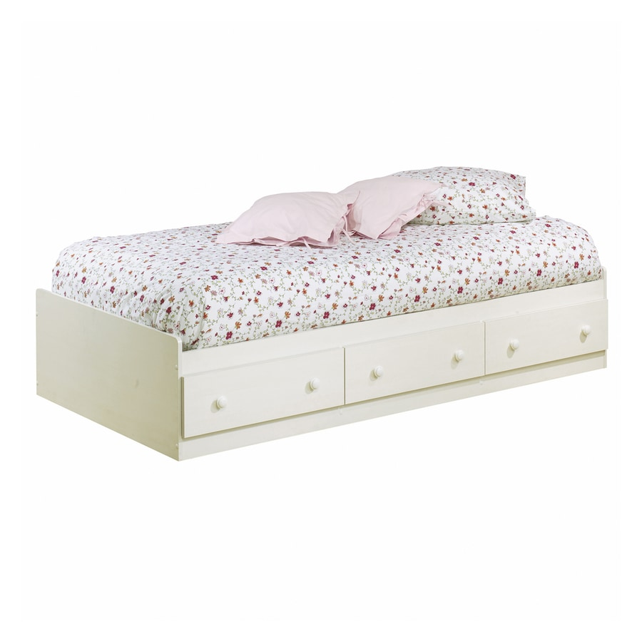 South Shore Furniture Summer Breeze Vanilla Cream Twin Platform Bed with Storage