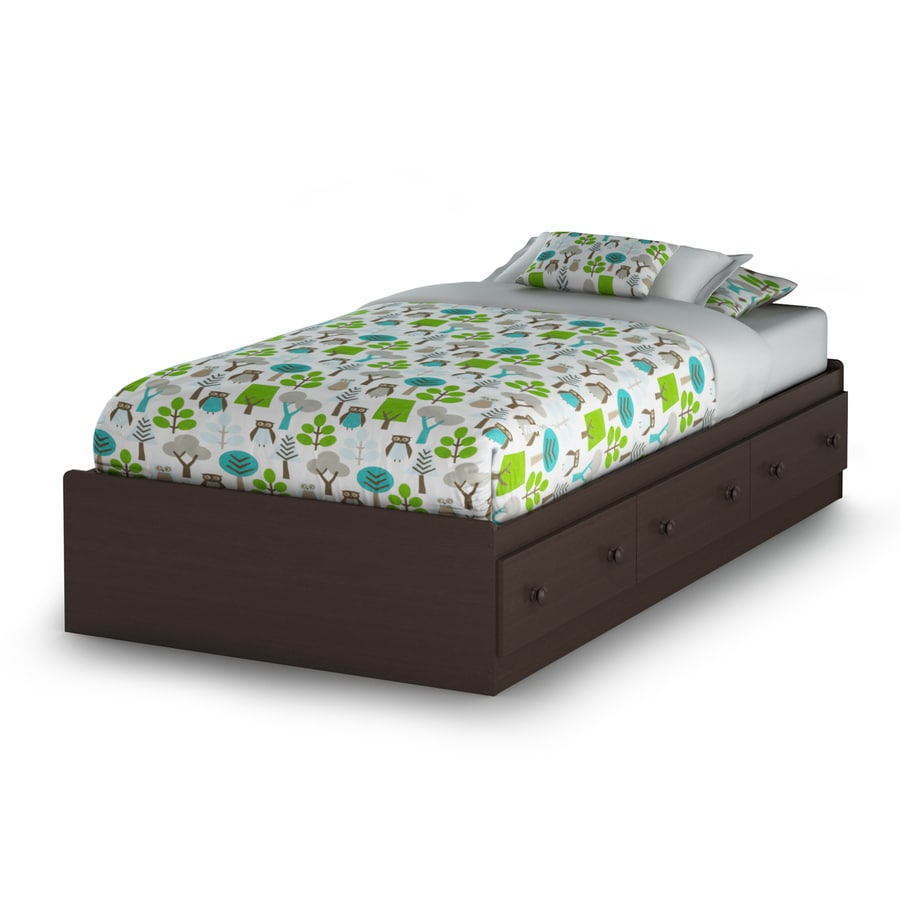 South Shore Furniture Summer Breeze Chocolate Twin Platform Bed with Storage
