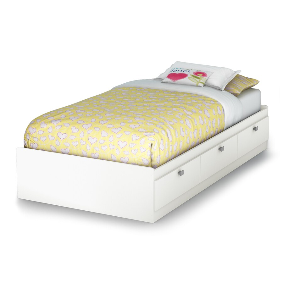 South S Furniture Sparkling Pure White Twin Platform Bed With Storage