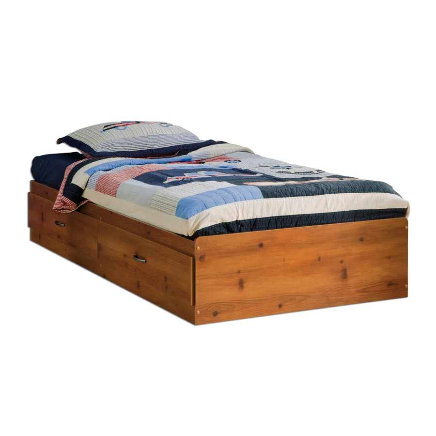South Shore Furniture Logik Sunny Pine Twin Platform Bed with Storage