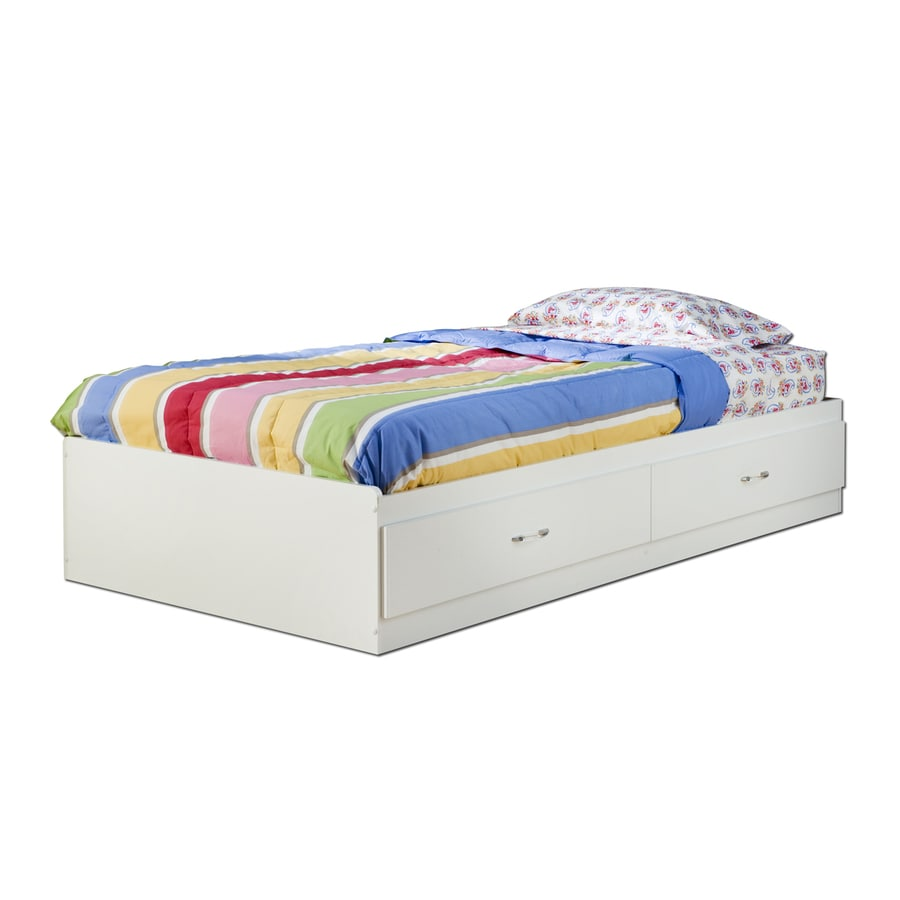 South Shore Furniture Logik Pure White Platform Bed with Storage