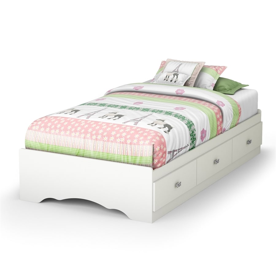 South Shore Furniture Tiara Pure White Twin Platform Bed with Storage