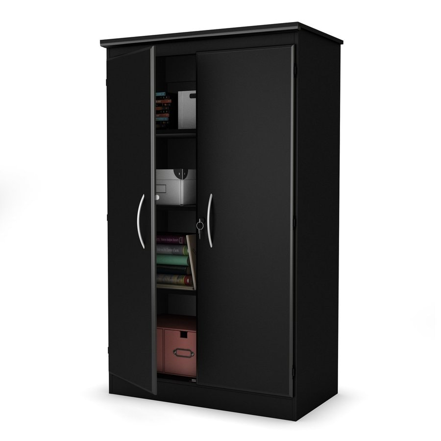 South Shore Furniture Pure Black 4-Shelf Office Cabinet