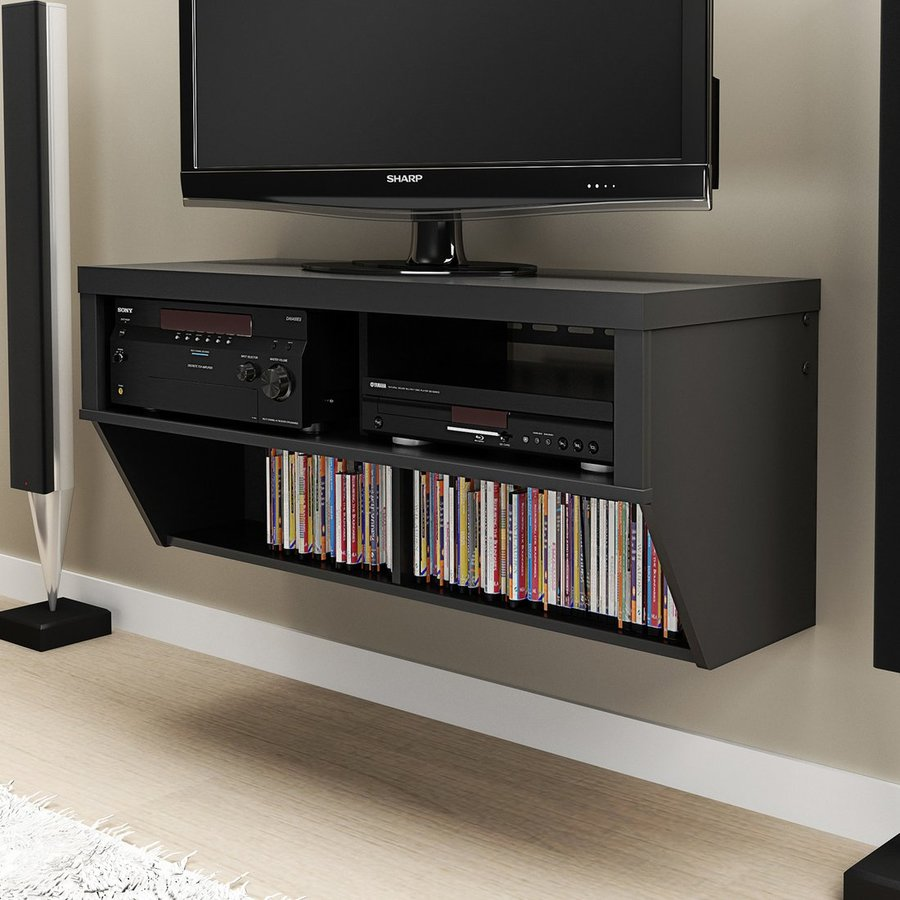 prepac furniture black wall mounted tv stand at. Black Bedroom Furniture Sets. Home Design Ideas