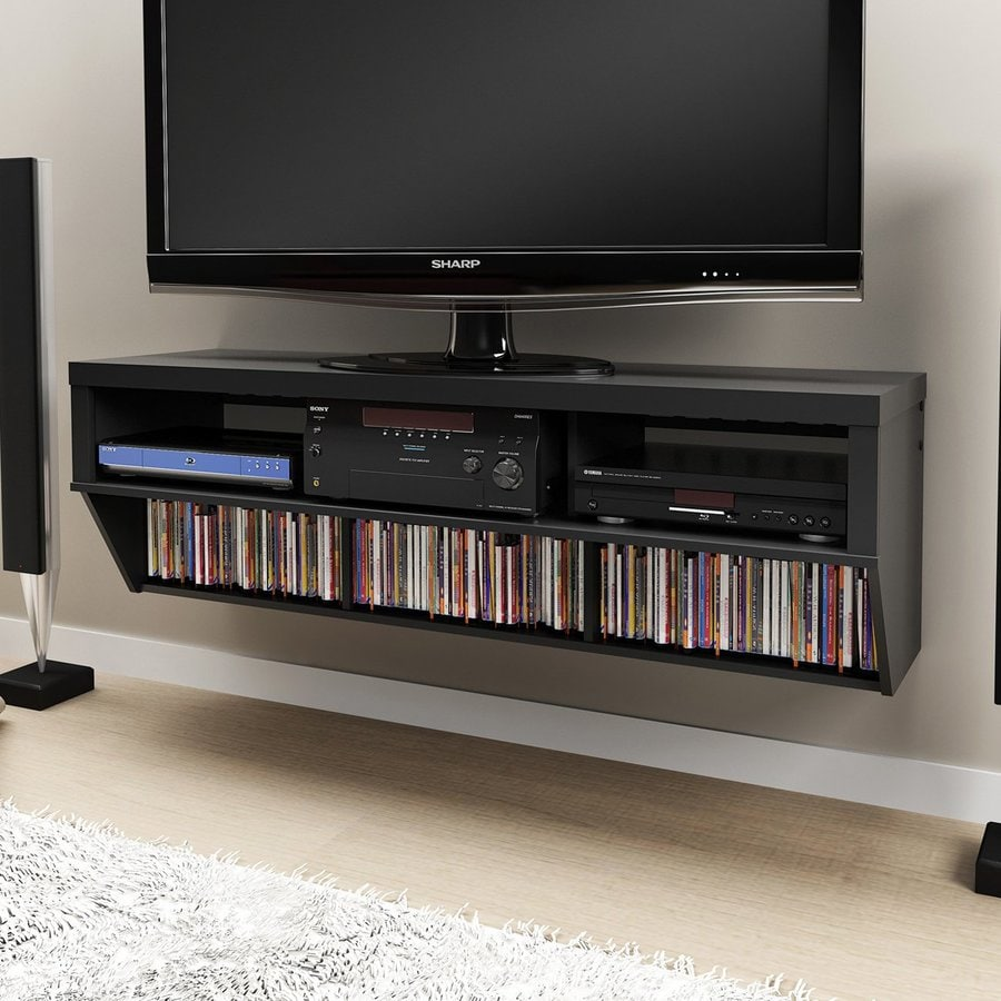 Prepac Furniture Black Wall-Mount TV Stand