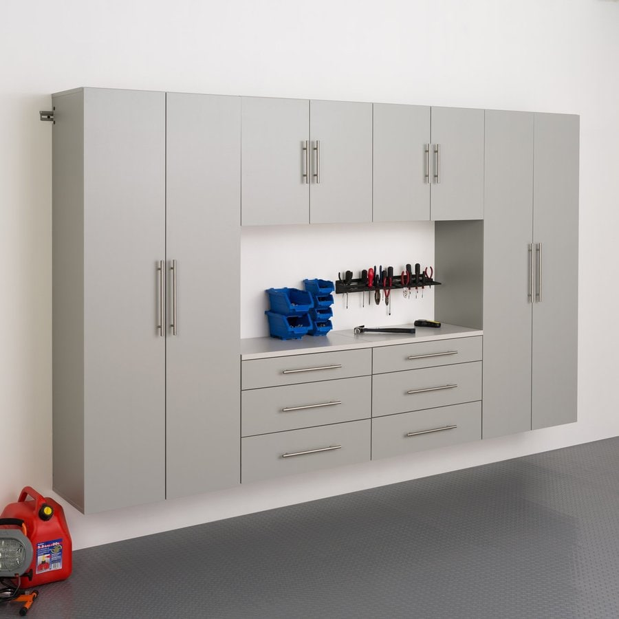 Prepac Furniture Hangups 120-in W x 72-in H Light Grey Composite Wood Garage Storage System