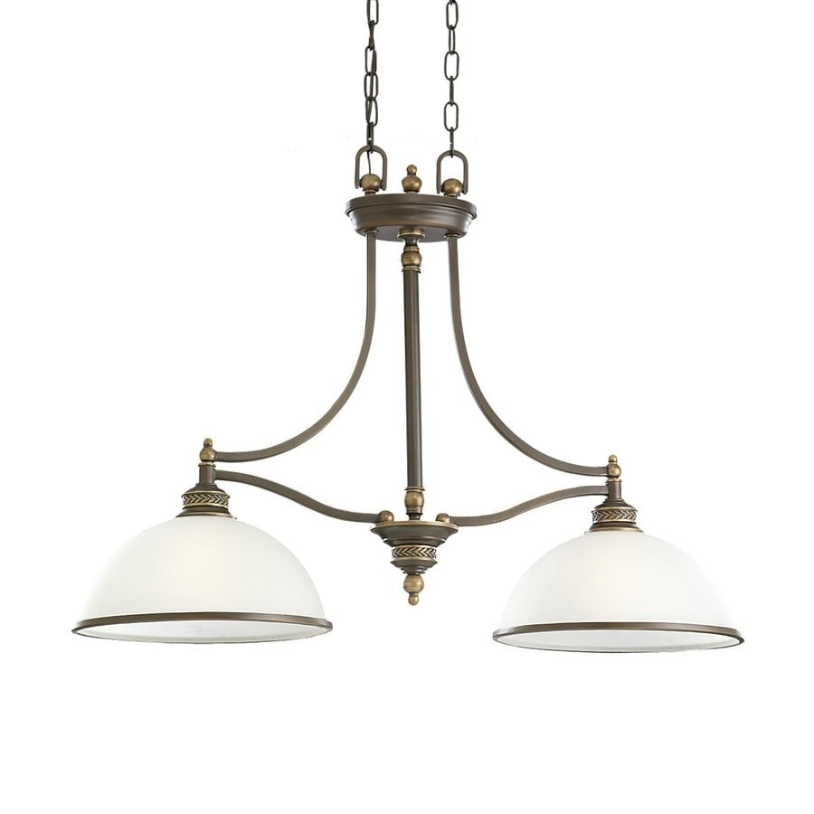 Sea Gull Lighting Laurel Leaf 12-in W 2-Light Estate Bronze Kitchen Island Light with White Shade