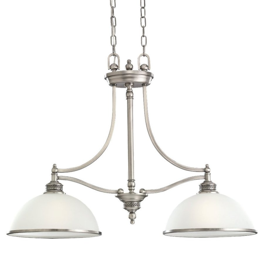 Sea Gull Lighting Laurel Leaf 12-in W 2-Light Antique Brushed Nickel Kitchen Island Light with White Shade