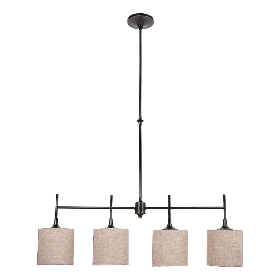 Sea Gull Lighting Stirling 36.87-in W 4-Light Burnt Sienna Kitchen Island Light with Fabric Shade
