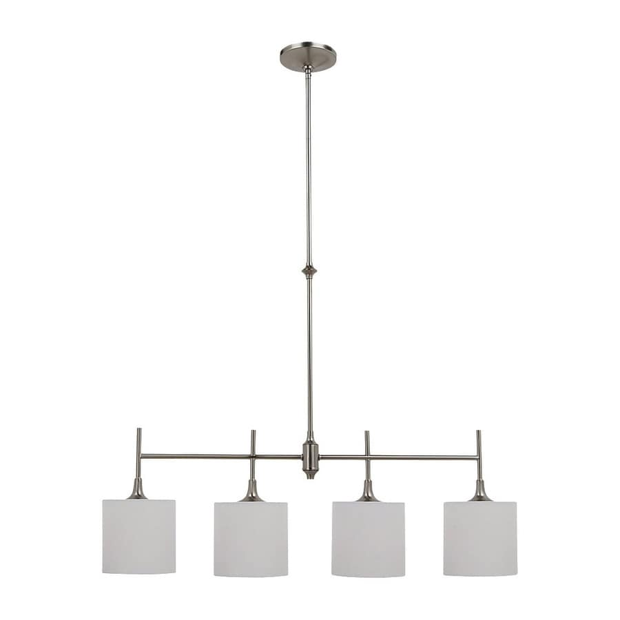 Sea Gull Lighting Stirling 36.87-in W 4-Light Brushed Nickel Kitchen Island Light with Fabric Shades