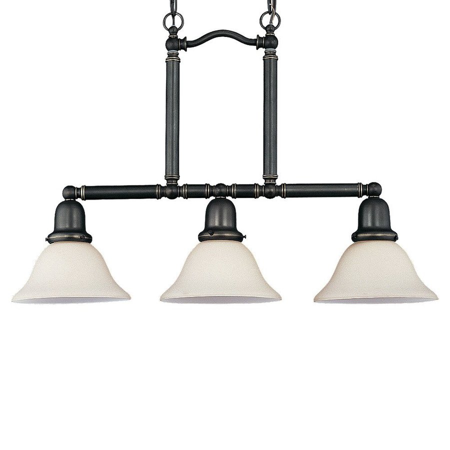 Sea Gull Lighting Sussex 7.5-in W 3-Light Heirloom Bronze Kitchen Island Light with White Shade ENERGY STAR