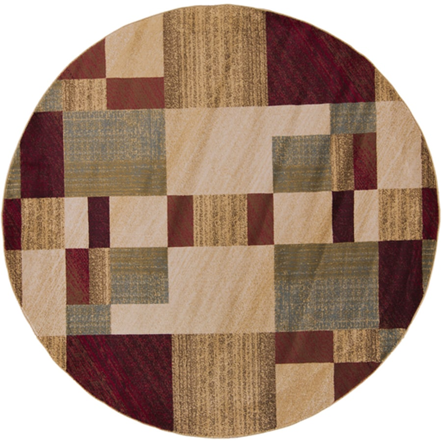 Surya Riley Dark Red Brown Cream Round Indoor Area Rug Common