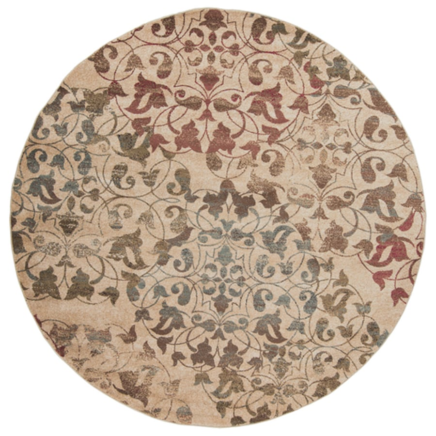 Shop Surya Riley Round Indoor Machine Made Distressed Area Rug Actual 8 Ft