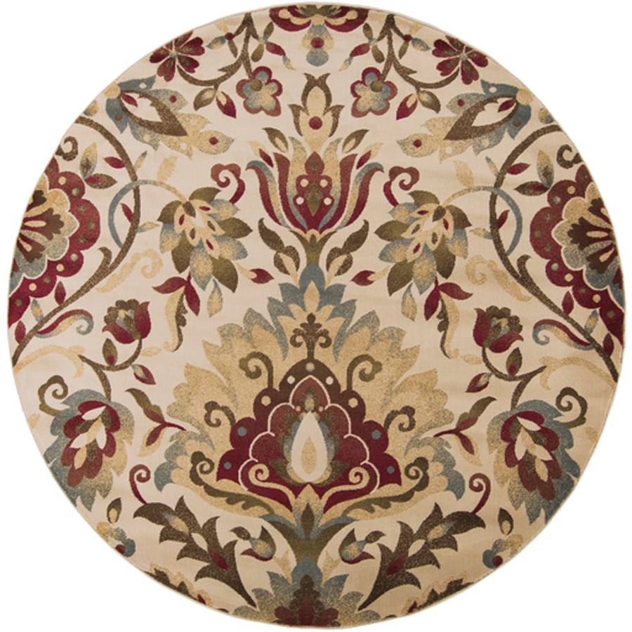 Surya Riley Beige Round Indoor Machine-Made Nature Area Rug (Actual: 8-ft Dia)