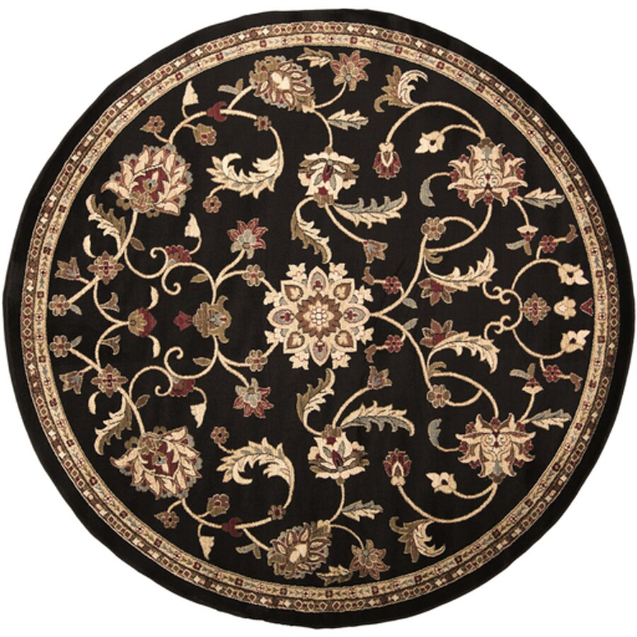 Surya Riley Dark Forest Round Indoor Machine-Made Oriental Area Rug (Actual: 8-ft Dia)