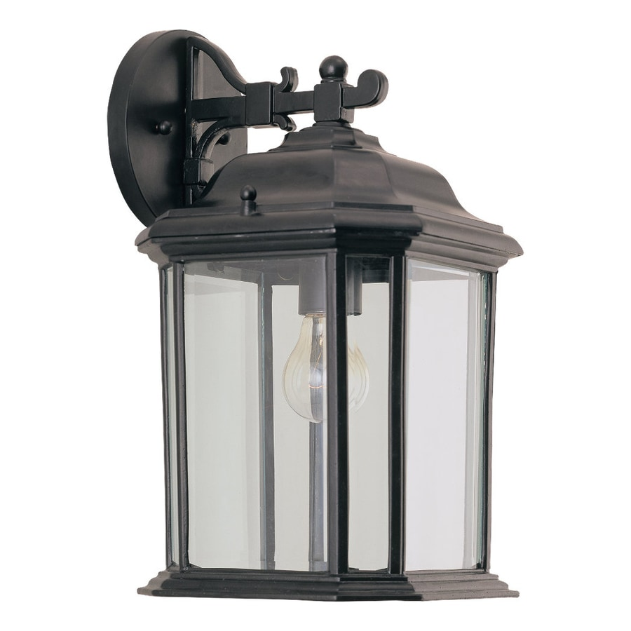 Exterior Wall Sconces Lowes : Shop Sea Gull Lighting Kent 15-in H Black Outdoor Wall ...