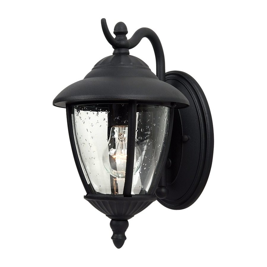Sea Gull Lighting Lambert Hill 13.25-in H Black Outdoor Wall Light
