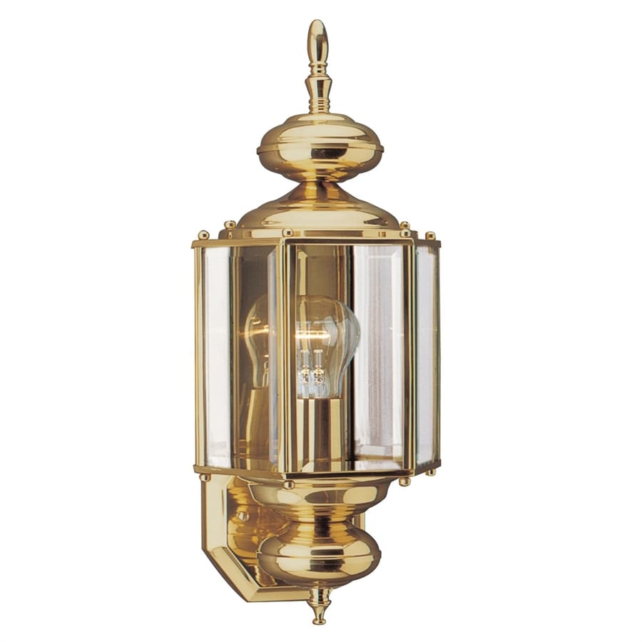sea gull lighting classico 255in h polished brass outdoor wall light - Sea Gull Lighting