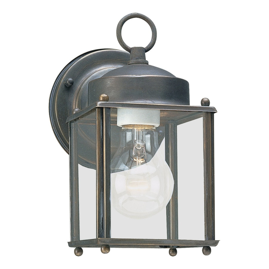 Shop Sea Gull Lighting New Castle H Antique Bronze Outdoor Wall Light At