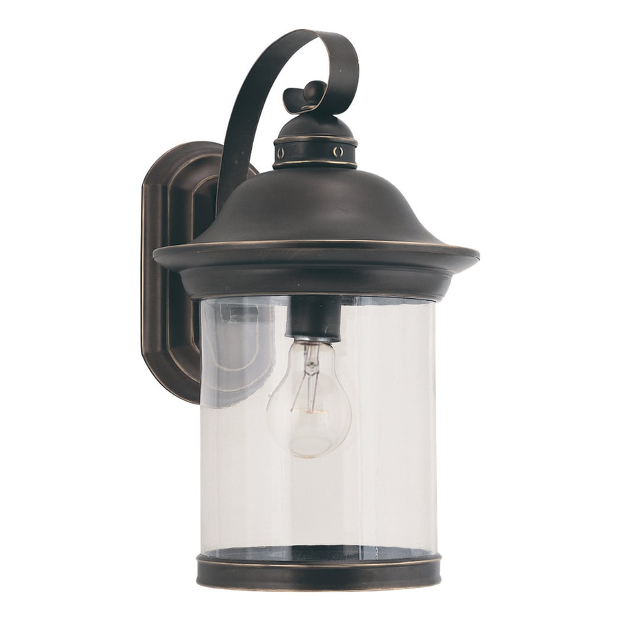 Shop Sea Gull Lighting Hermitage 15.25-in H Antique Bronze Outdoor Wall Light at Lowes.com