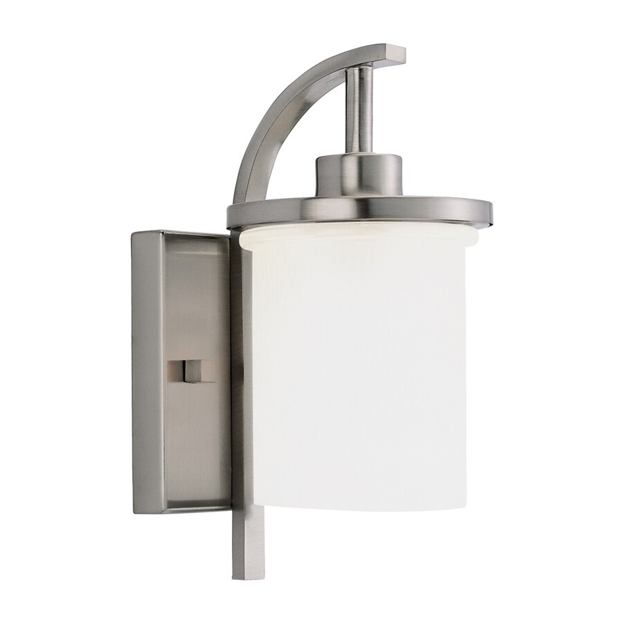 Sea Gull Lighting Eternity 12-in H Brushed Nickel Outdoor Wall Light