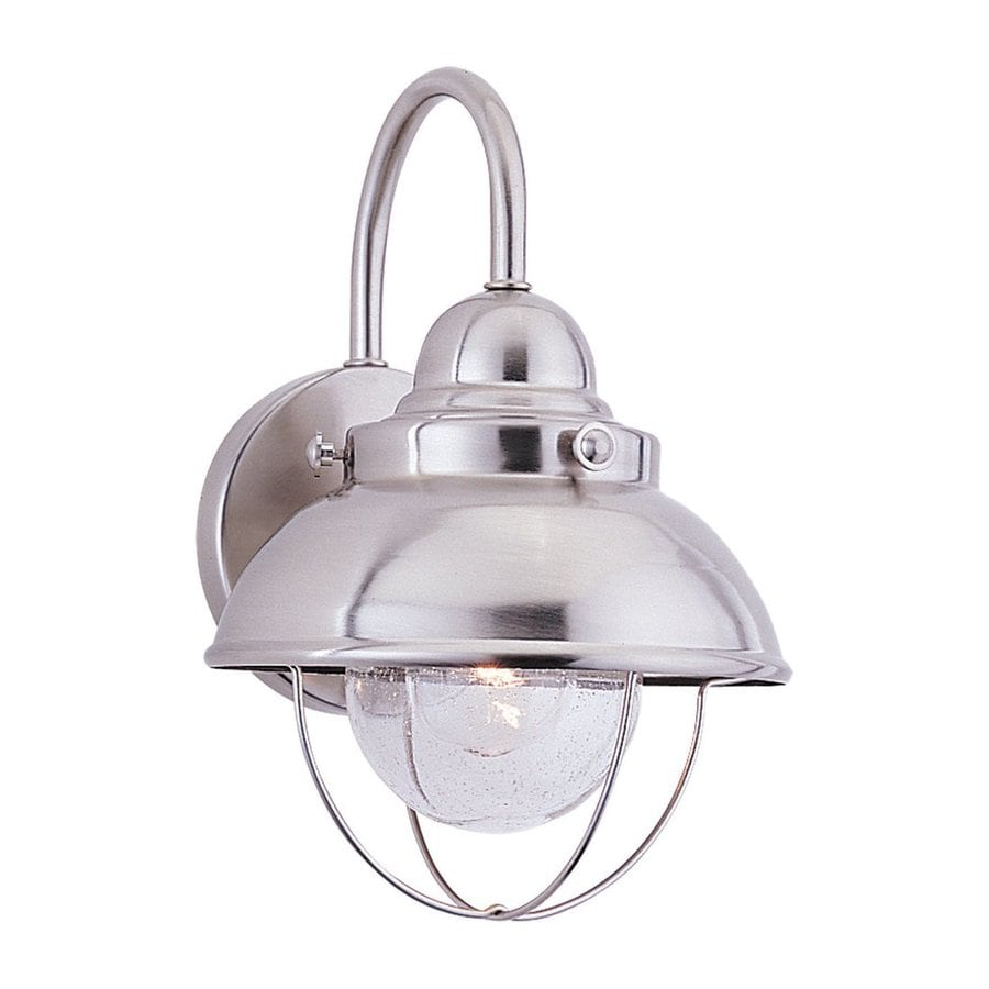 Shop Sea Gull Lighting Sebring 11.25-in H Brushed Stainless Outdoor Wall Light at Lowes.com