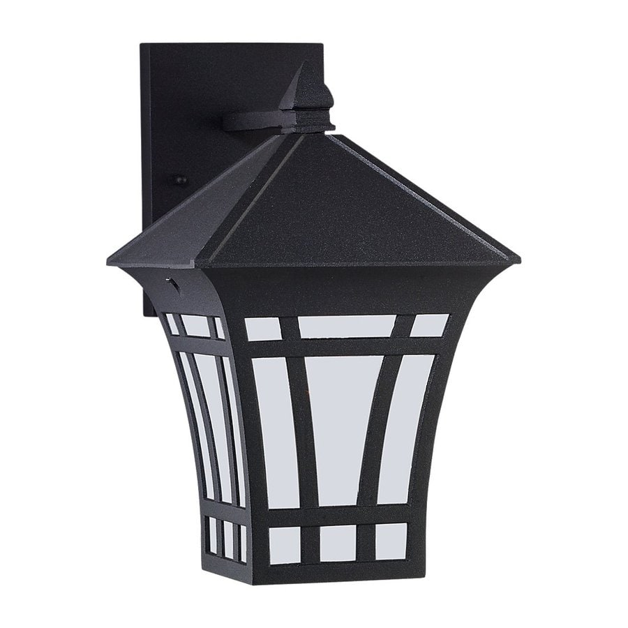 Sea Gull Lighting Herrington 11.75-in H Black Outdoor Wall Light ENERGY STAR
