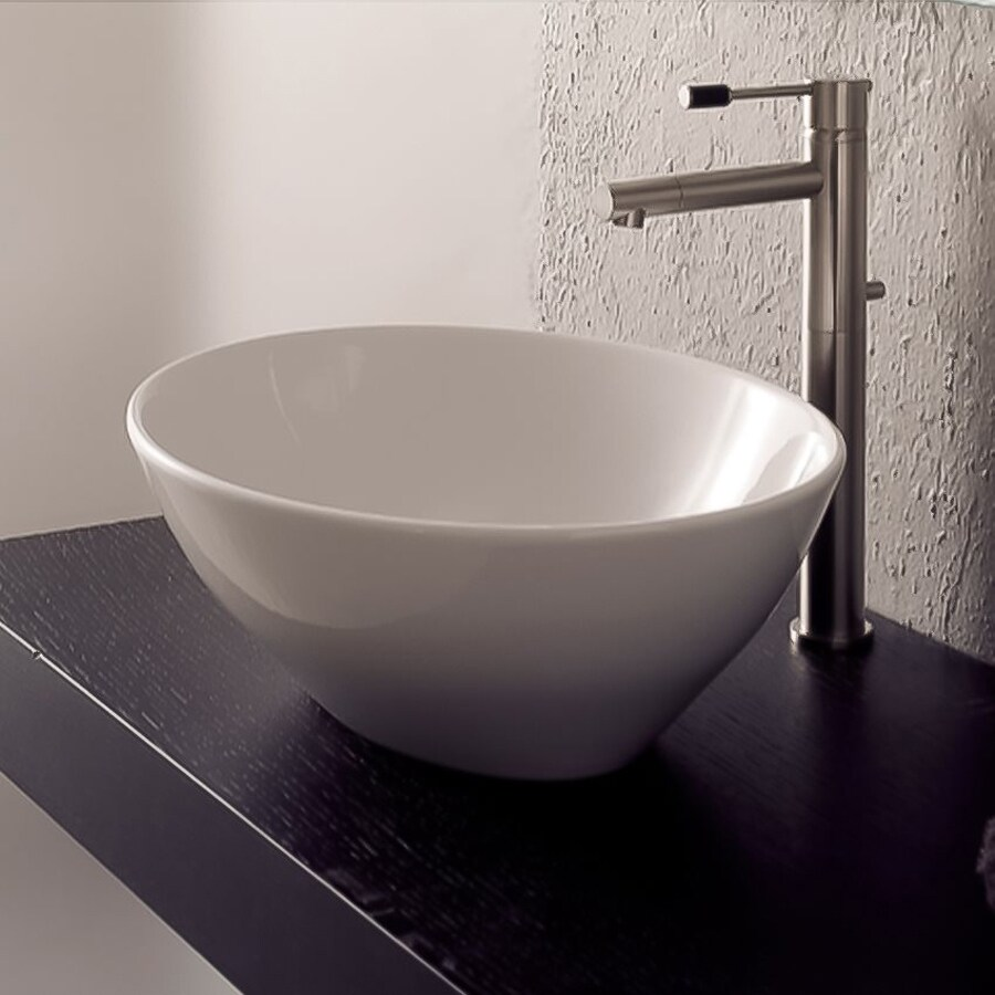 Shop Nameeks Scarabeo White Vessel Oval Bathroom Sink at Lowes.com