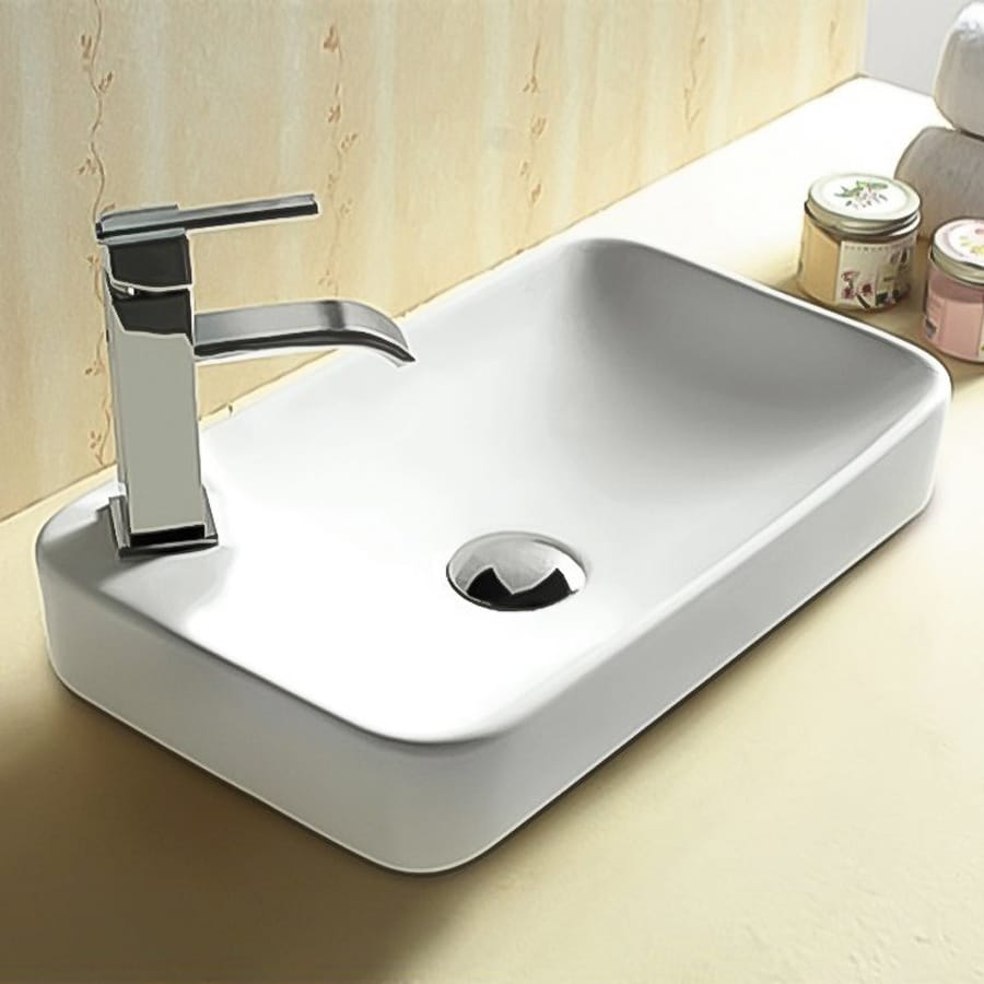 Nameeks Ceramica White Ceramic Vessel Rectangular Bathroom Sink