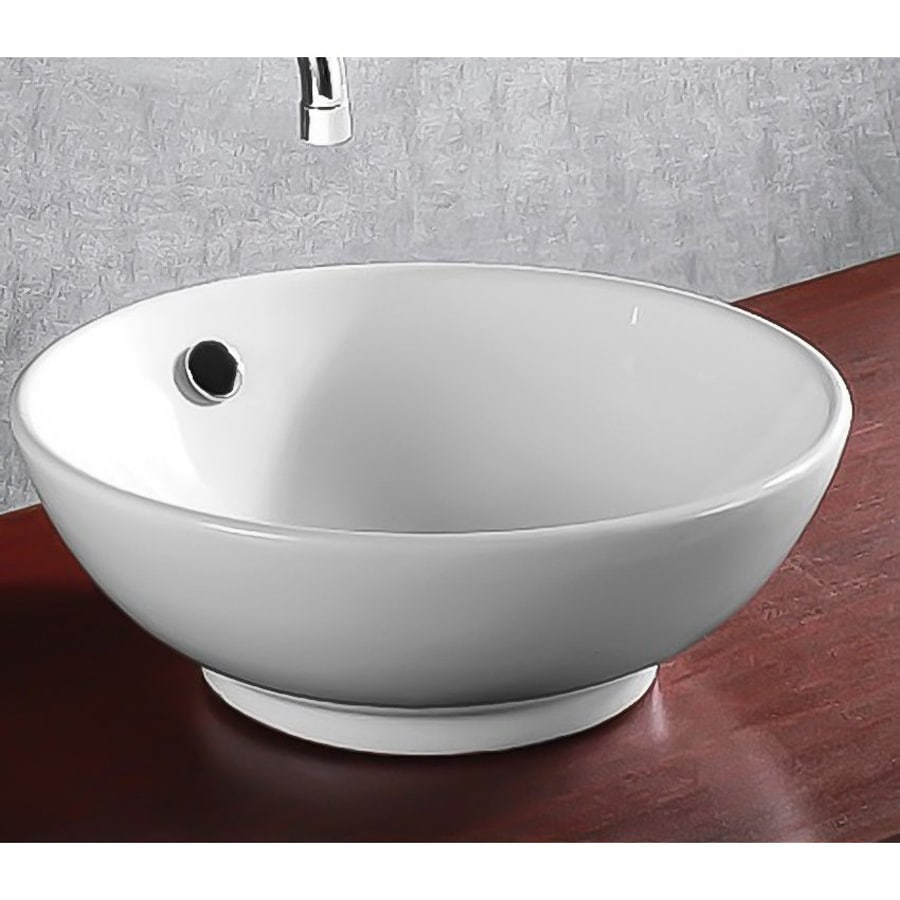 Shop Nameeks Ceramica White Ceramic Vessel Round Bathroom