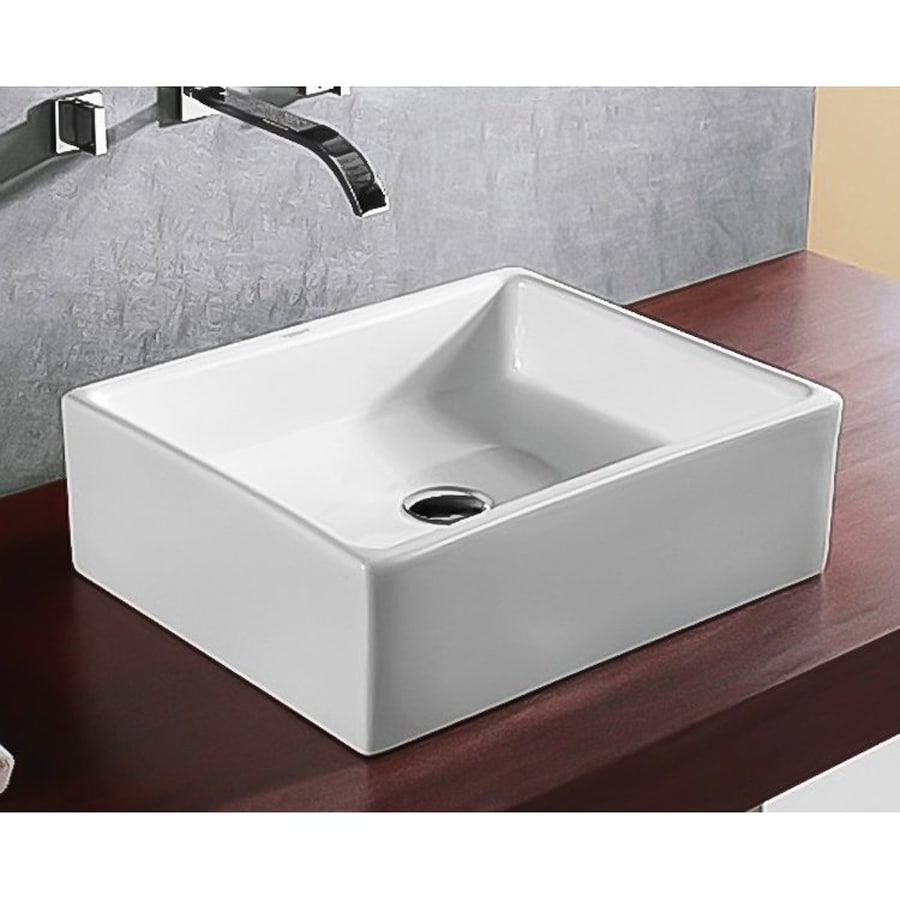 Nameeks Ceramica White Ceramic Vessel Square Bathroom Sink