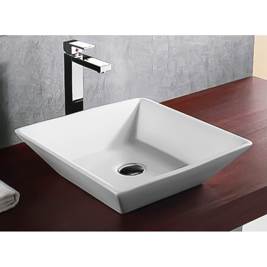 ... Ceramica White Ceramic Vessel Square Bathroom Sink at Lowes.com