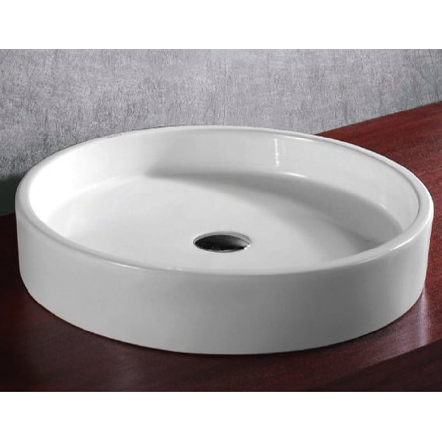Nameeks Ceramica White Ceramic Vessel Round Bathroom Sink