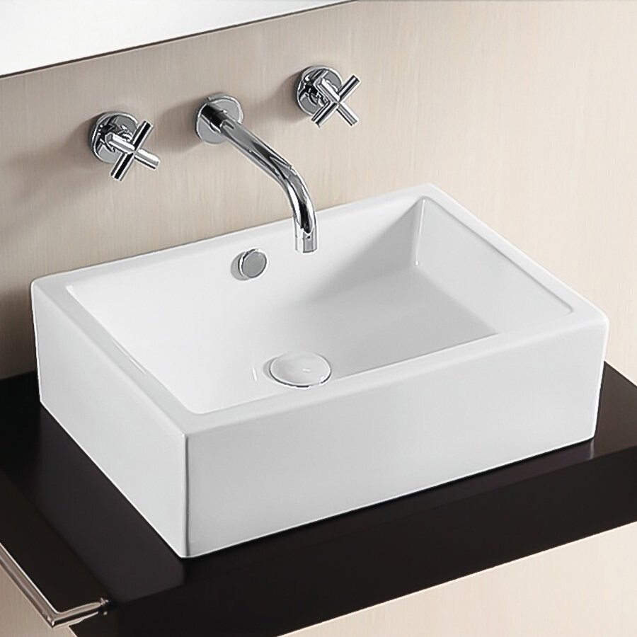 Nameeks Ceramica White Ceramic Vessel Rectangular Bathroom Sink