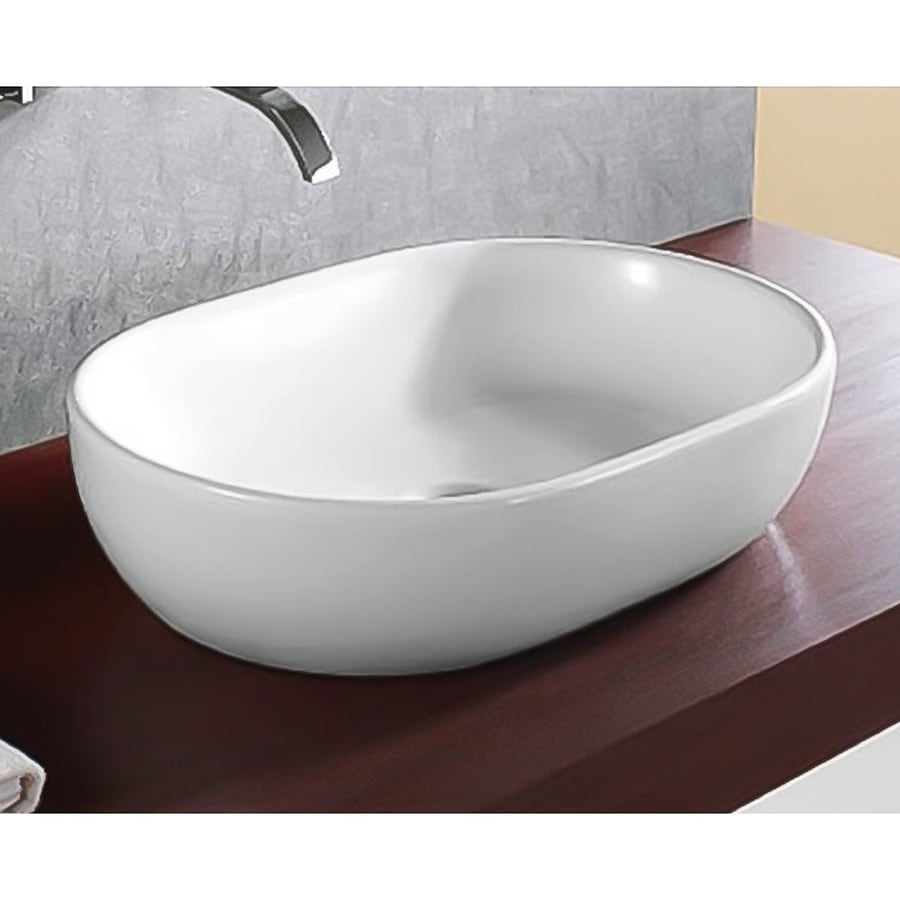 Shop Nameeks Ceramica White Ceramic Vessel Oval Bathroom