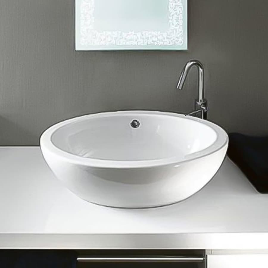 Shop nameeks panorama white ceramic vessel oval bathroom for Bathroom ideas vessel sink