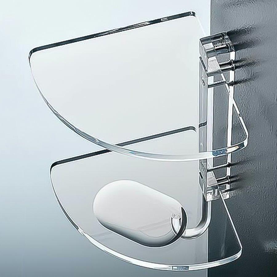 Nameeks Corner 2-Tier Transparent Plastic Bathroom Shelf