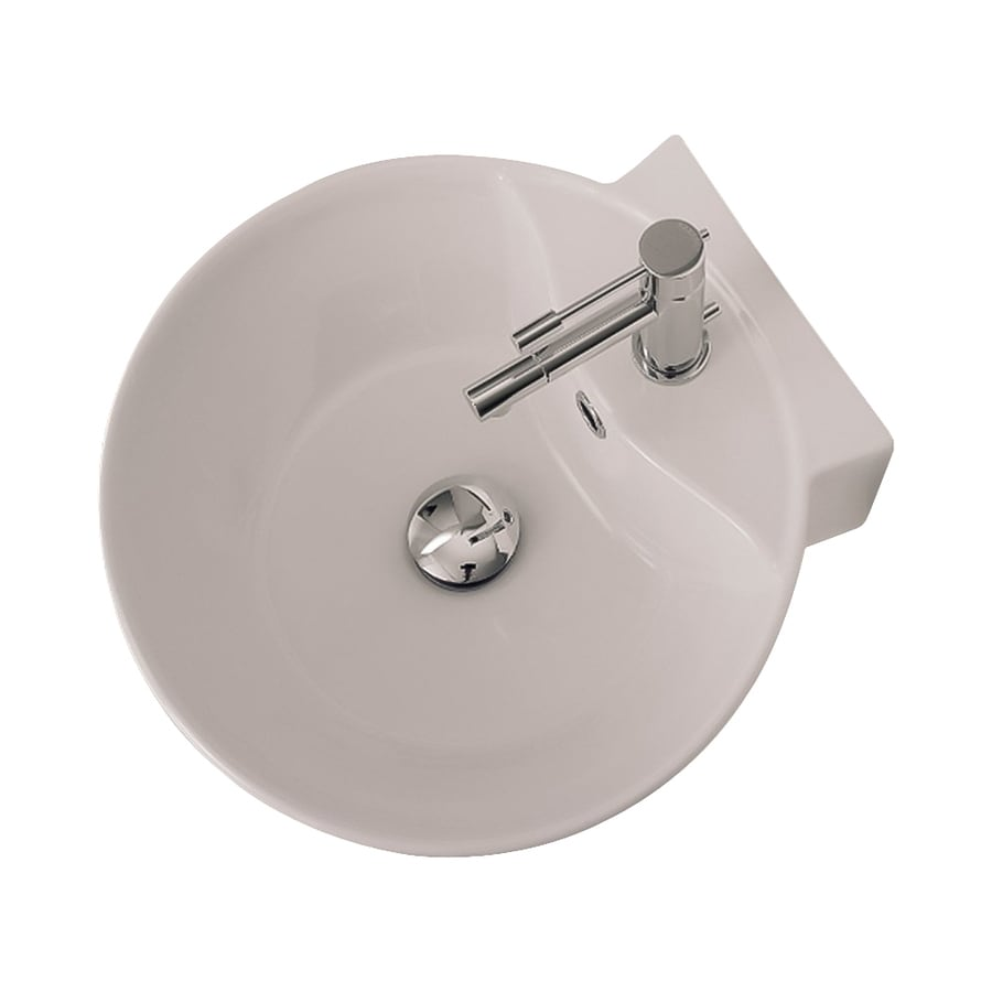 Nameeks Scarabeo White Wall-Mount Round Bathroom Sink with Overflow