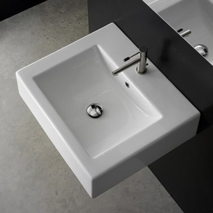 white wall mount rectangular bathroom sink with overflow at