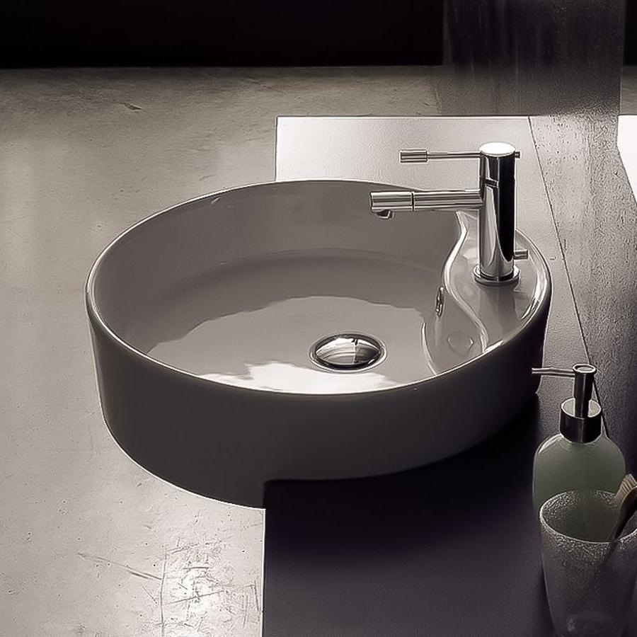 Nameeks Scarabeo White  Vessel Round Bathroom Sink