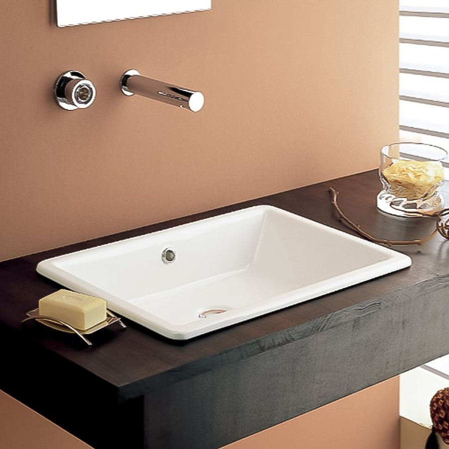 Shop Nameeks Scarabeo White Drop In Rectangular Bathroom Sink With Overflow At