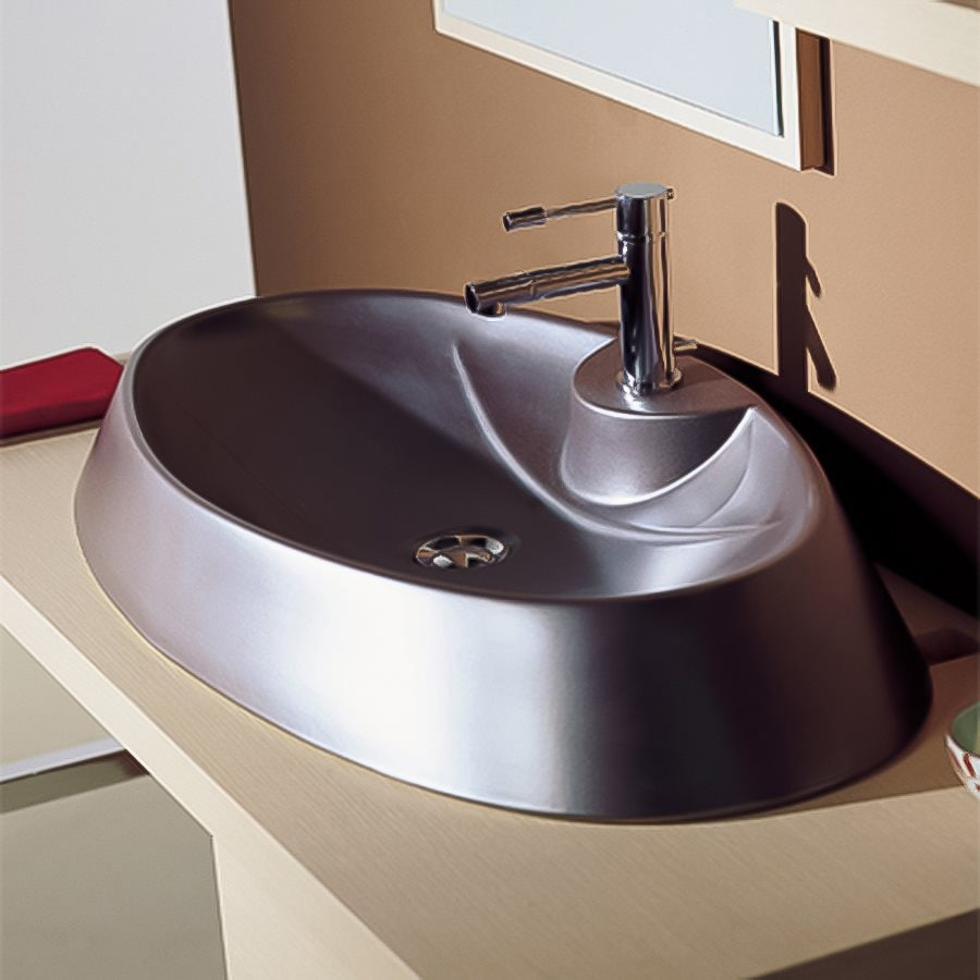 Nameeks Scarabeo White  Vessel Oval Bathroom Sink