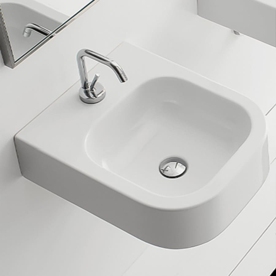 Nameeks Scarabeo White Wall-Mount Rectangular Bathroom Sink